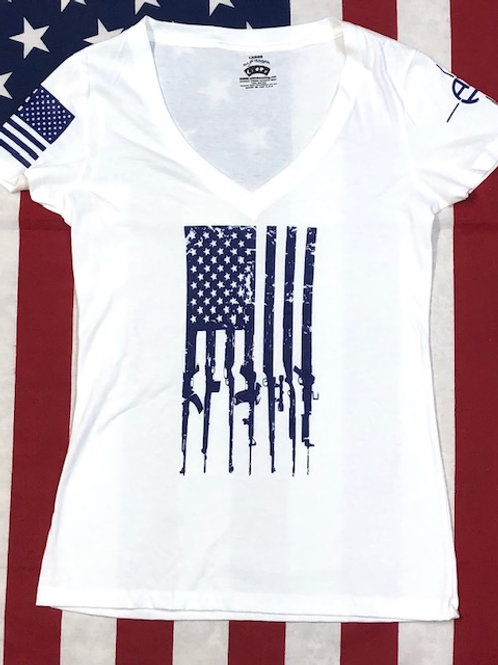 Women's white V-neck GUN FLAG shirt