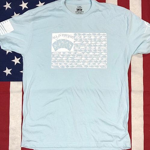 Men's Light Blue ALL IN FISHING flag shirt