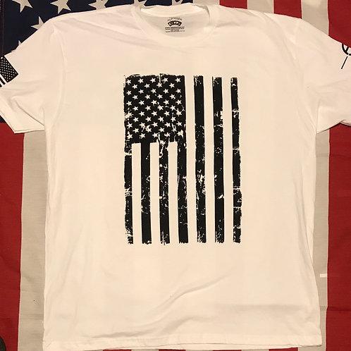 Men's white short sleeve shirt with american flag in black print
