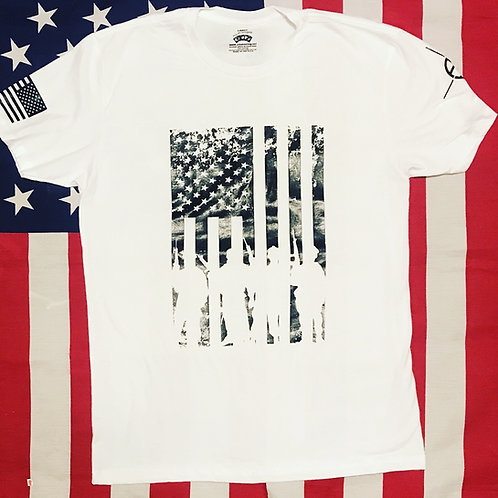 Men's white shirt with black print soldiers flag