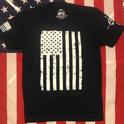 Men's black shirt with American flag in white print