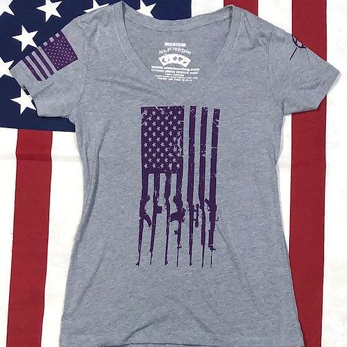 Women's gray V-neck purple GUN FLAG shirt