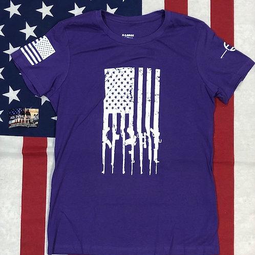 Women's purple GUN FLAG shirt
