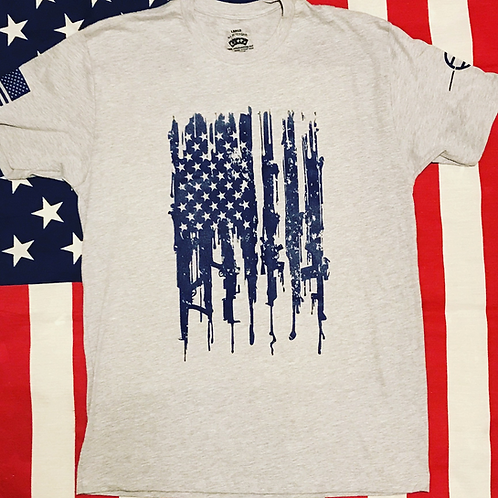 Men's Gray bleeding Gun Flag shirt with navy print
