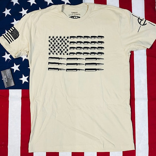 Mens's cream shirt BULLET FLAG