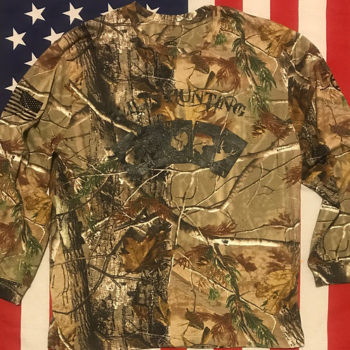 Men's camo Long Sleeve shirt with all in hunting Logo in black print