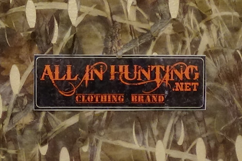 ALL IN HUNTING Bumper sticker. orange letters