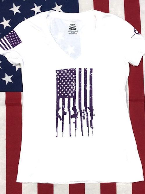 Women's white V-neck purple GUN FLAG shirt