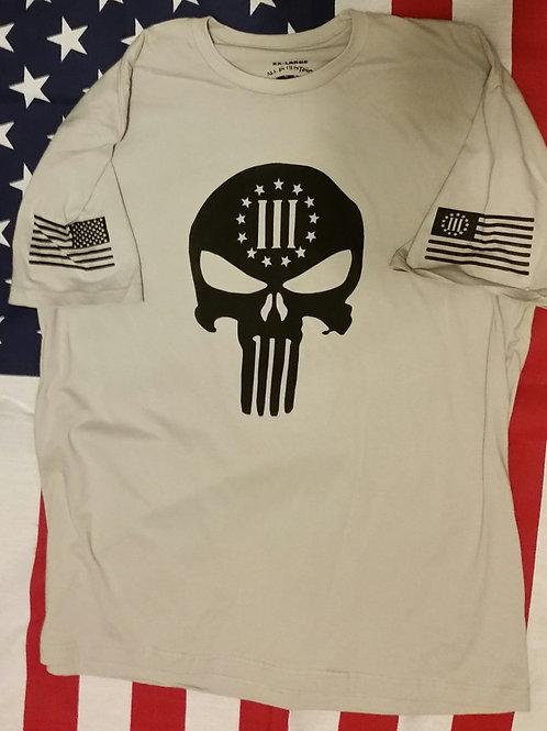 Men's 3% skull Tan shirt