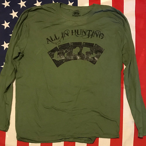Men's all in hunting long Sleeve shirt with all in hunting Logo in black print