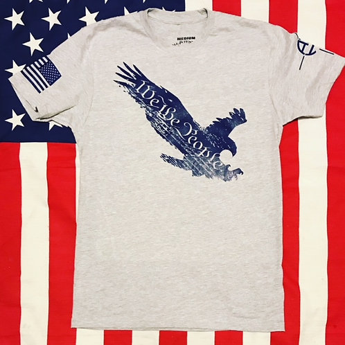Men's WE THE PEOPLE EAGLE gray shirt with navy print