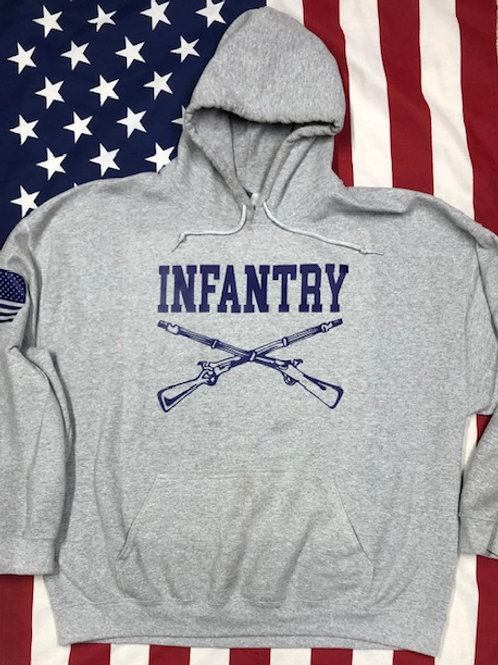 gray hoodie with navy print INFANTRY cross rifles