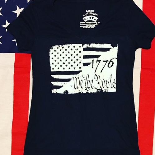 Ladies navy blue V-Neck 1776 WE THE PEOPLE FLAG