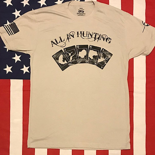 Men's all in hunting logo short sleeve shirt sand with black print