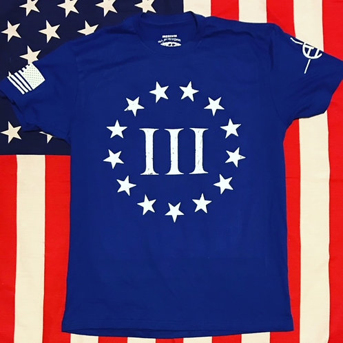 Men's royal blue shirt white print 3% fear the government shirt