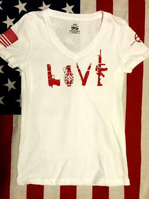 Womens white deep V-neck shirt with LOVE
