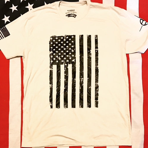 Men's sand FLAG shirt with black print