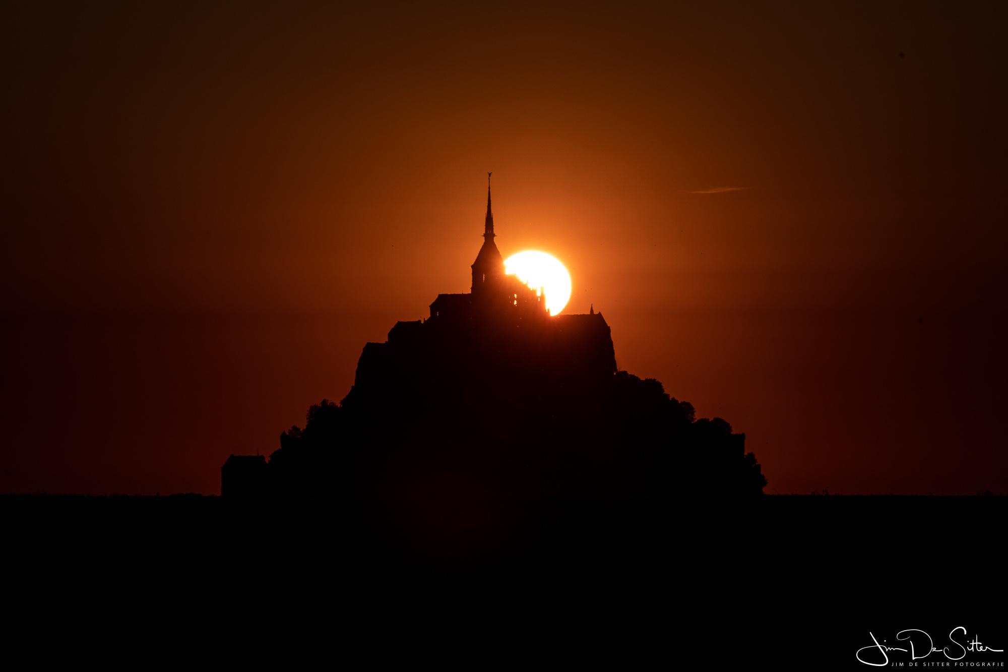 Landschapsfoto : Zonsondergang bij de Mont Saint-Michel