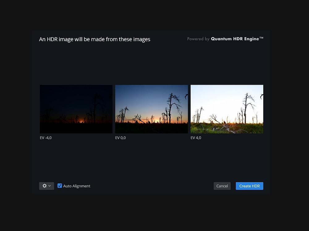 Gebruik de Auto Alignment functie om de beelden perfect op elkaar uit te lijnen