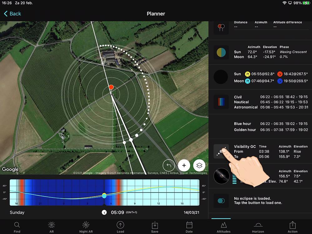 PhotoPills planner screenshot
