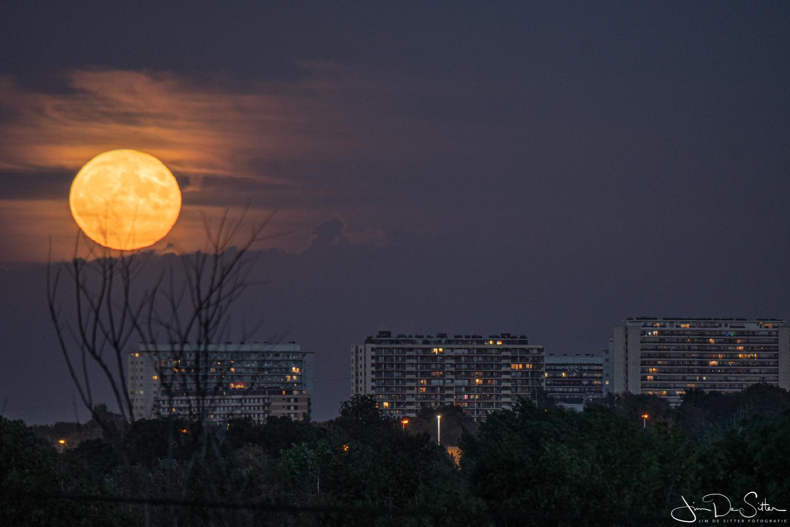 Landschapsfoto : De maan boven Brussel