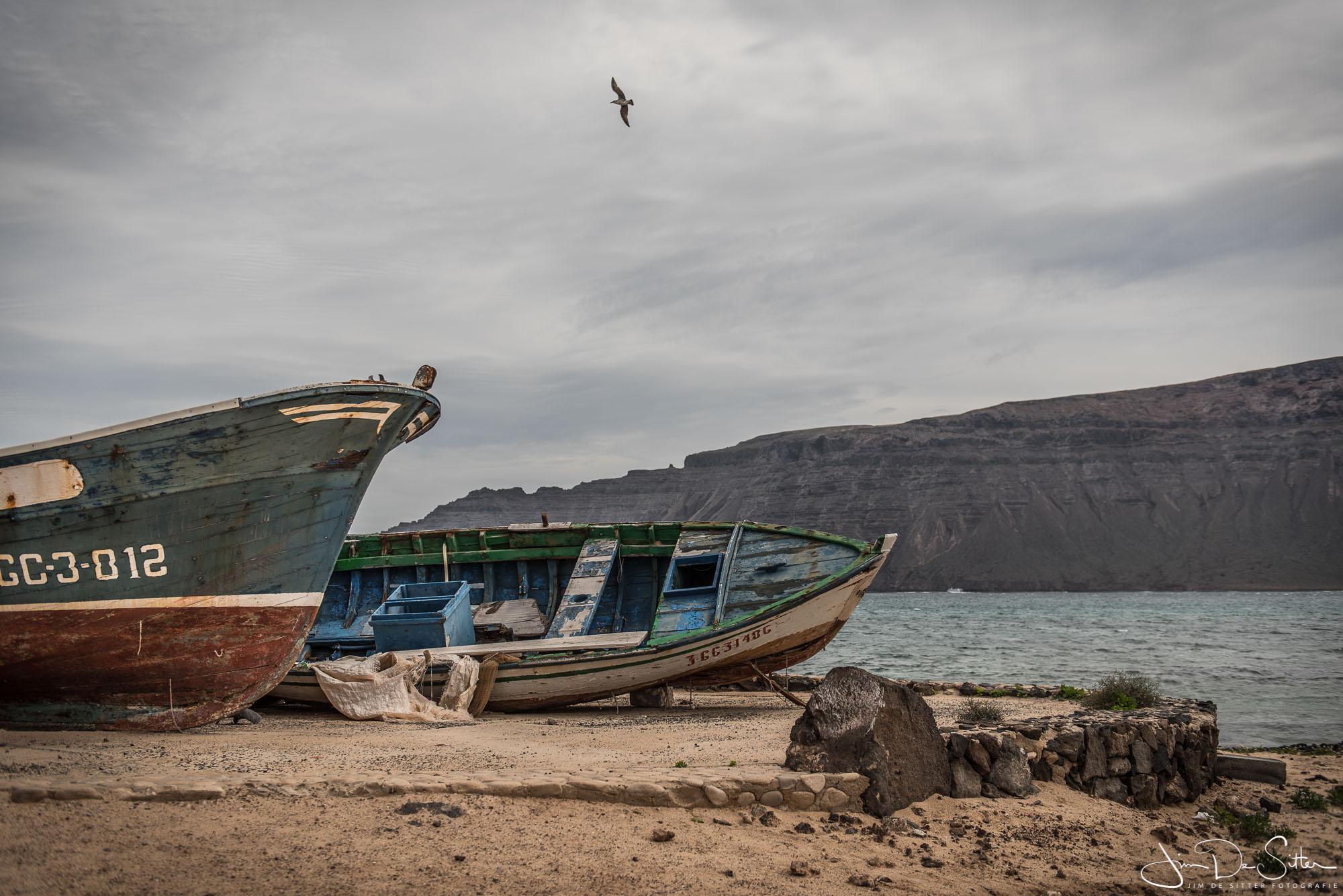 Landschapsfoto : Vissersbootjes in La Graciosa