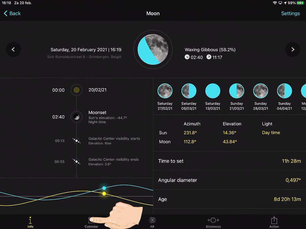 PhotoPills moon phase planner
