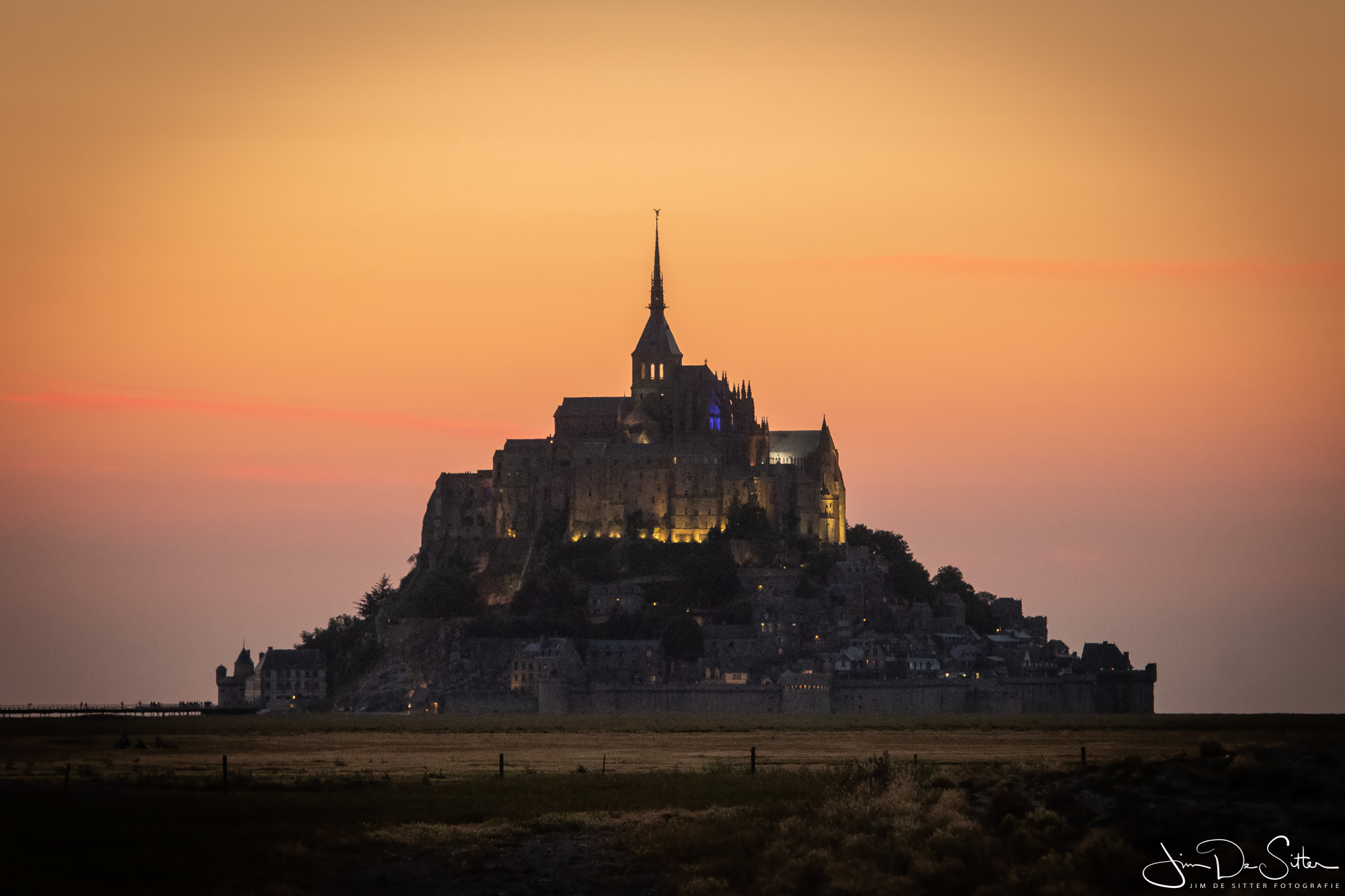 Landschapsfoto : de Mont Saint-Michel na zonsondergang
