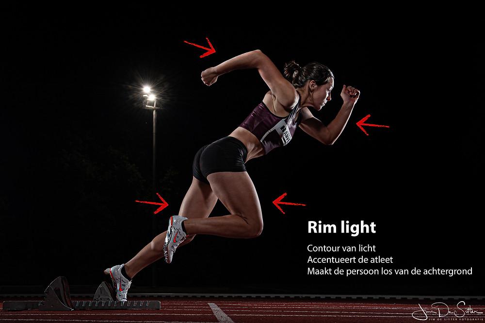 Rim light wordt vaak gebruikt om sporters te accentueren