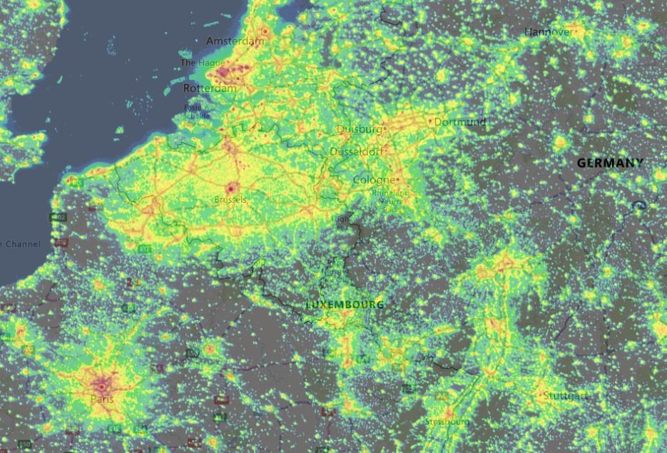 Lichtvervuiling in België en Nederland