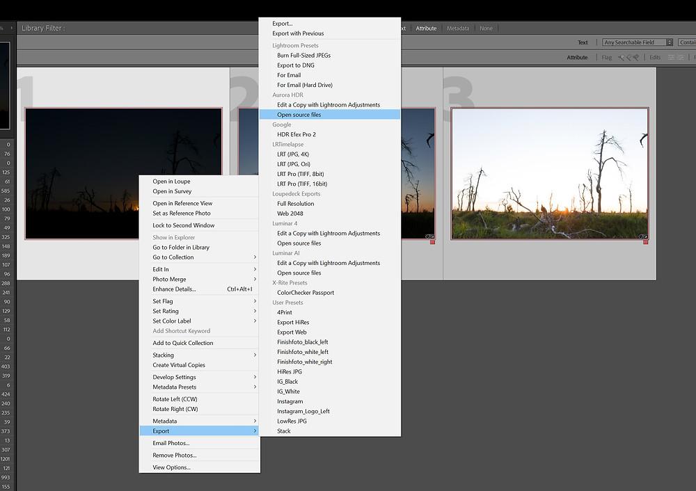 Exporteer de RAW bestanden vanuit Lightroom naar Aurora HDR