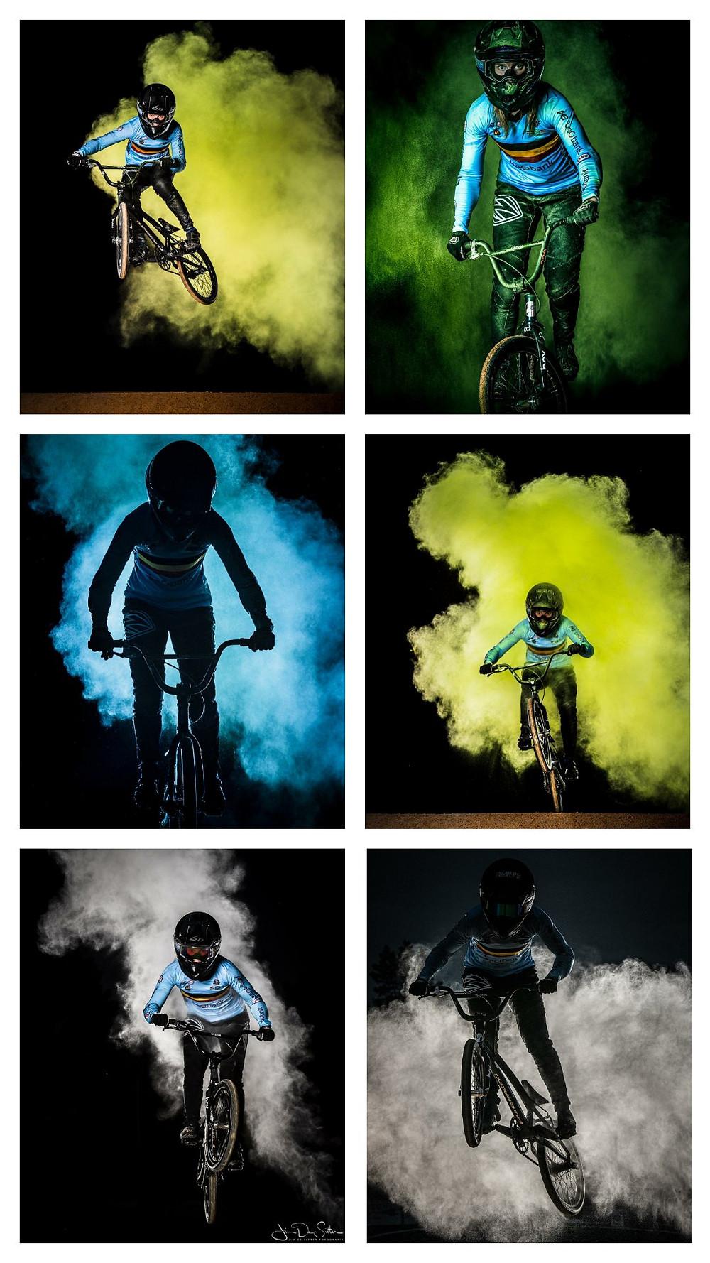 Elke Vanhoof powder photoshoot BMX