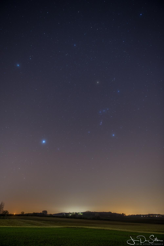 Het eindresultaat. Het Orion sterrenbeeld met het Kase Dream Star filter