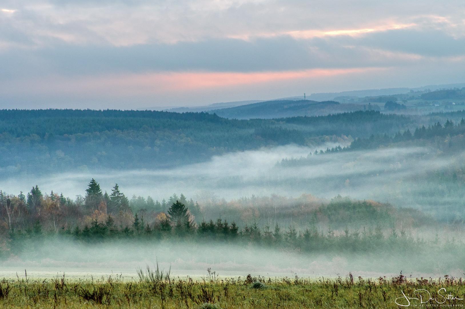 Landschapsfoto : Ochtendmist in de Ardennen
