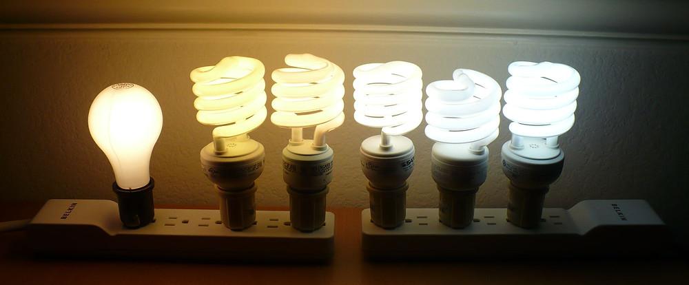 Verschillende lampen met hun eigen witbalans