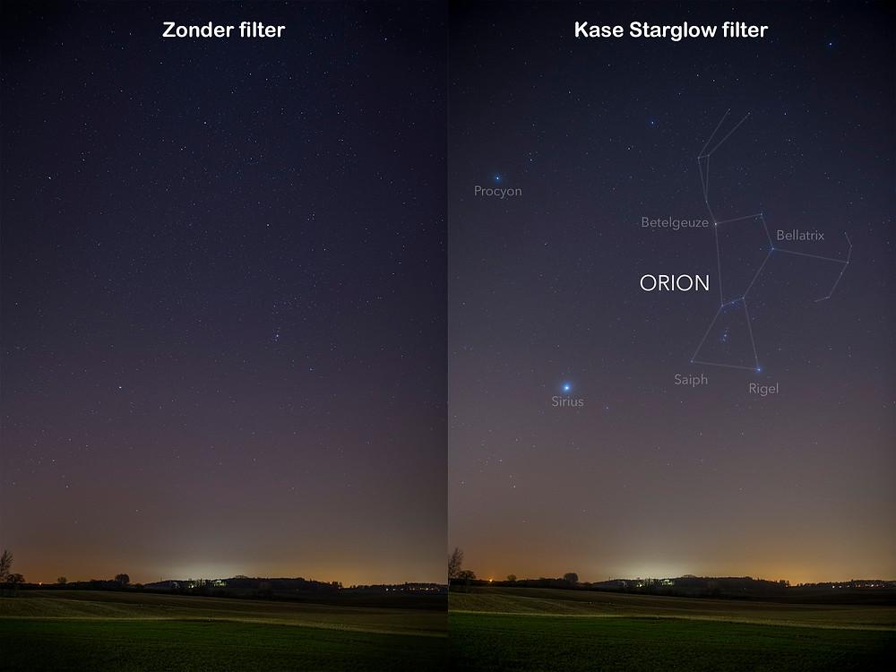 Kase Starglow Filter. Het sterrenbeeld Orion