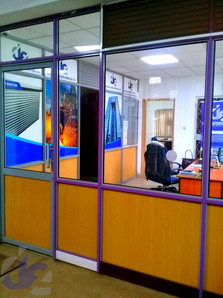 Office Partition with Glass and MDF boards