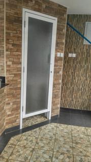 Aluminium Flush Door with Watermarked Glass
