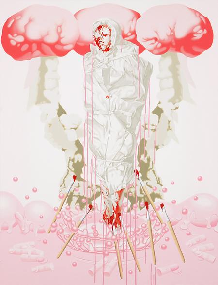 이보람,천에 싸인 죽은 아이, 분홍과 빨강 2, 2010