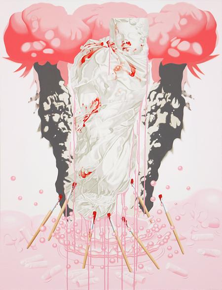 이보람,천에 싸인 죽은 아이, 분홍과 빨강 1, 2010