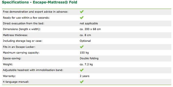 Specifications Escape-Mattress® Fold