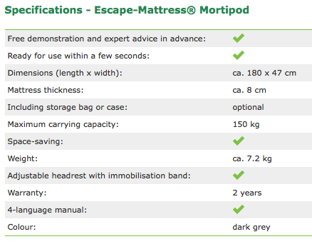 Specifications Escape-Mattress® Mortipod