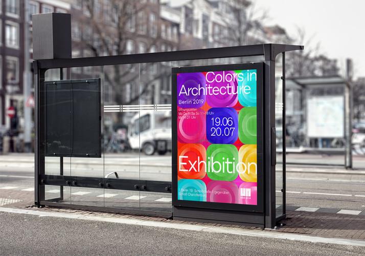 Affiche abribus expo Berlin Architecture 2019
