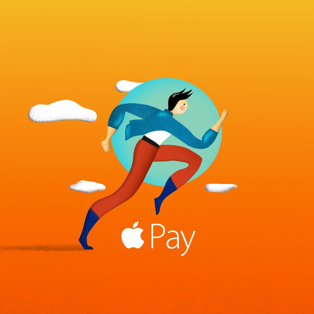 "Illustration ""Run to the world"" with Apple Pay"
