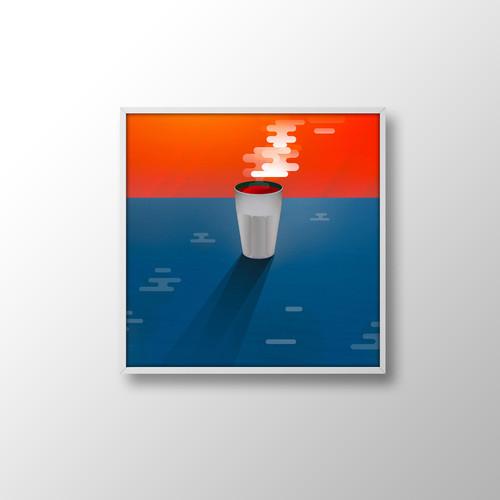 Print Café voyage 30x30 sur papier d'art