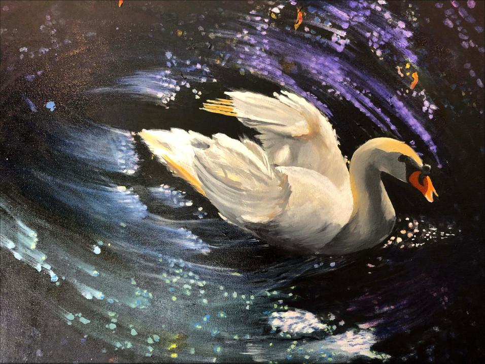 """Swan Lake, 22"""" x 28"""""""