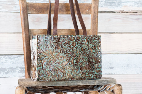 G05 Small Turquoise Floral Tote