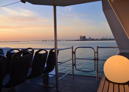 Couché de soleil à bord