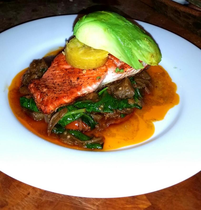 Plantain Spinach Stew Salmon
