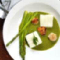 Ugali, Afia's Green Sauce, Seared Scallo